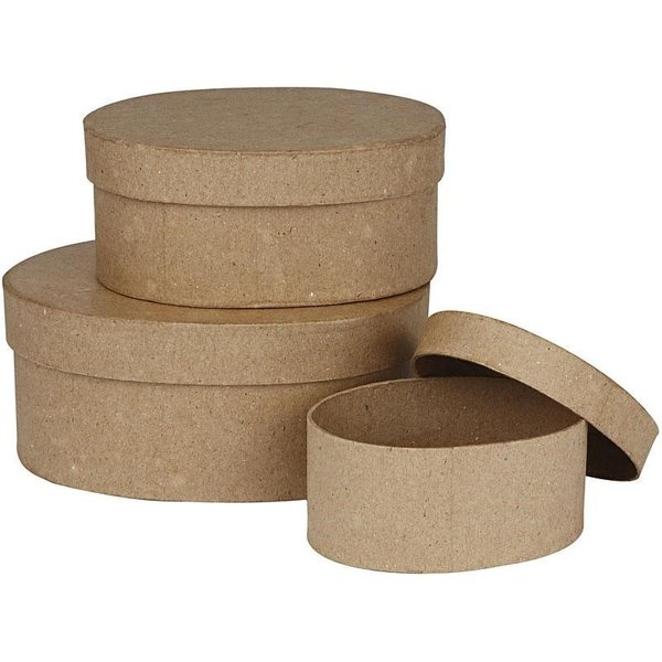 Set of 3 Paper Mache Nesting Oval Boxes