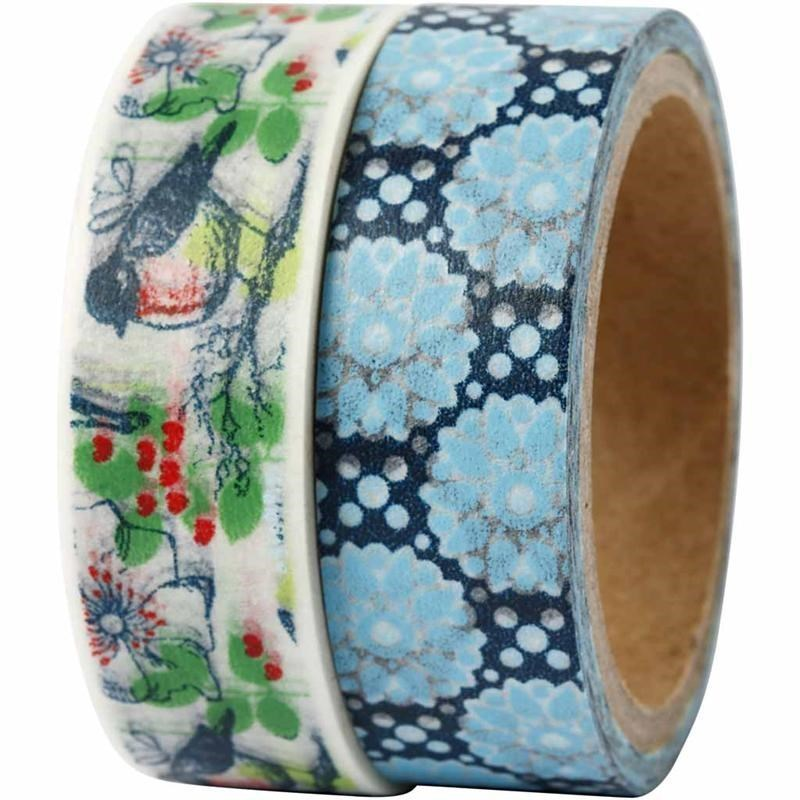 Pack of 2 Washi Tape / Masking Tape - London Birds and Flowers