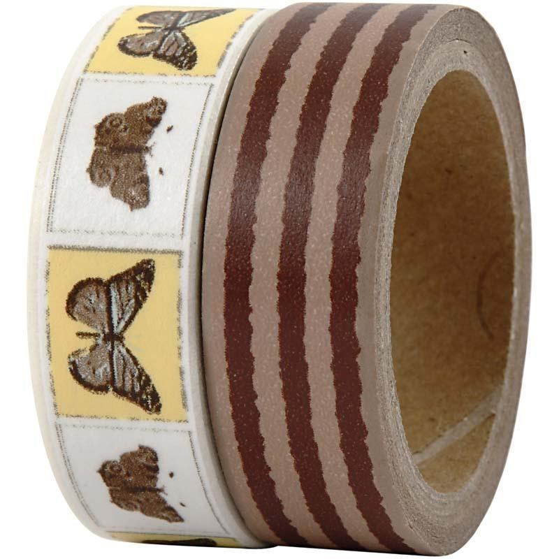 Pack of 2 Washi Tape / Masking Tape - Oslo Butterflies and Stripes