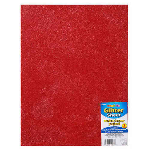 "Single Sheet of Glitter Foam 9"" x 12"" x 2mm - Red"