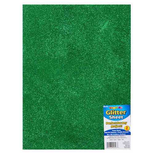 "Single Sheet of Glitter Foam 9"" x 12"" x 2mm - Green"