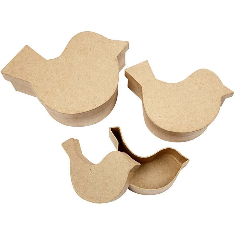 Set of 3 Paper Mache Nesting Bird Shaped Boxes