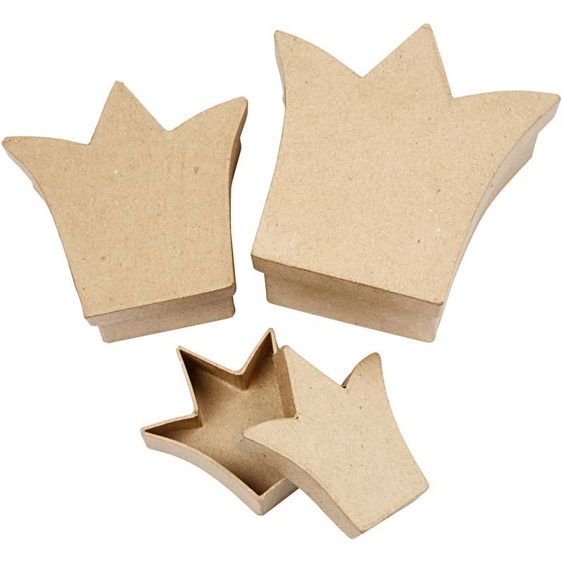 Set of 3 Paper Mache Nesting Crown Shaped Boxes