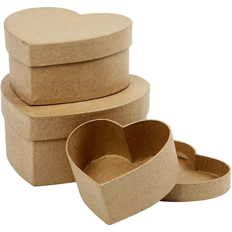 Set of 3 Paper Mache Nesting Heart Boxes
