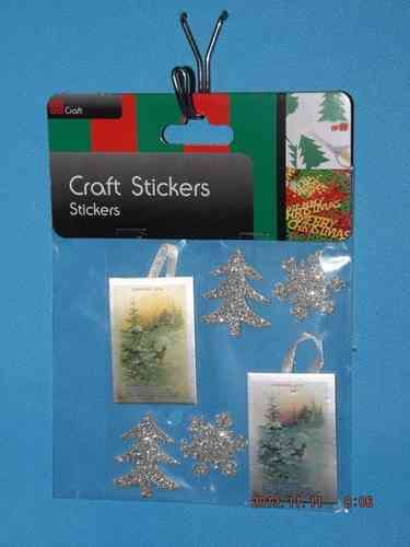 3D Christmas Stickers - Silver Trees, Snowflakes and Tags
