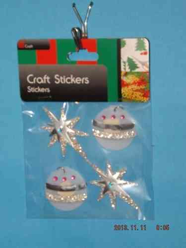 3D Christmas Stickers - Silver Baubles and Stars