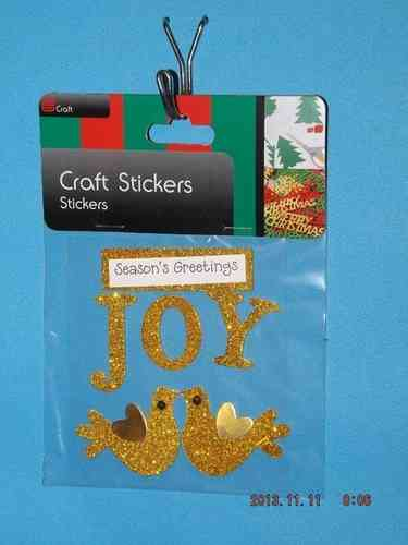 3D Christmas Stickers - Gold Greetings and Doves
