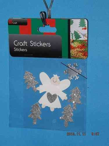 3D Christmas Stickers - Silver Angel and Trees