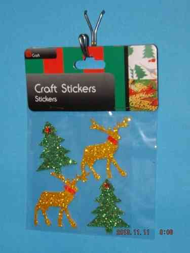 3D Christmas Stickers - Gold Reindeer and Green Trees