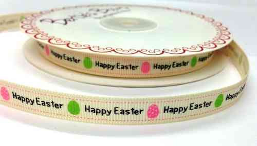 Grosgrain Ribbon 3 Meters - Happy Easter With Egg Motifs (9mm Wide)