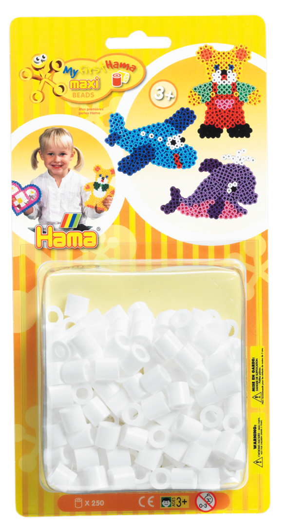 Pack of 250 Hama Maxi Beads White (8601)