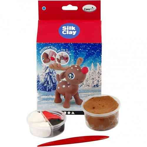 Silk Clay Funny Christmas Friends Kit - Reindeer