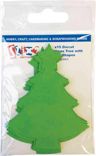 Pack of 15 Die Cut Christmas Trees - Green
