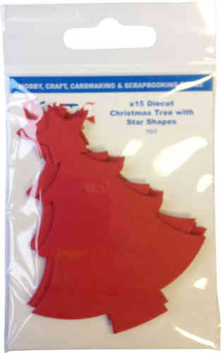 Pack of 15 Die Cut Christmas Trees - Red