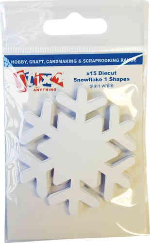Pack of 15 Die Cut Smooth Snowflakes - White