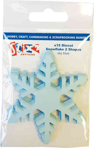 Pack of 15 Die Cut Jagged Snowflakes - Blue
