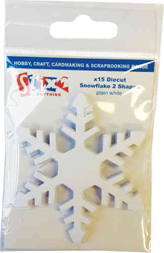 Pack of 15 Die Cut Jagged Snowflakes - White