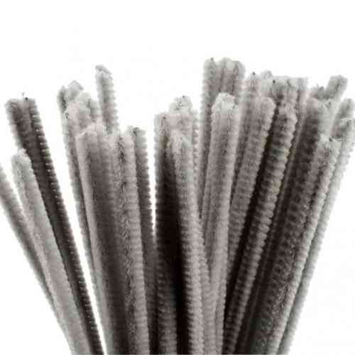 "Pack of 50 12"" Pipe Cleaners / Chenille Stems - Dark Grey"