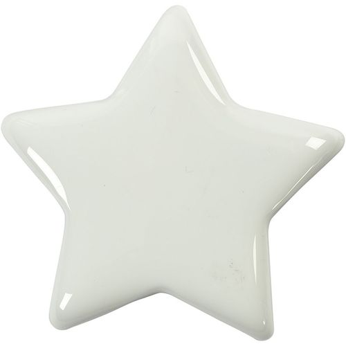 White Solid Glass Star - 7.5cm