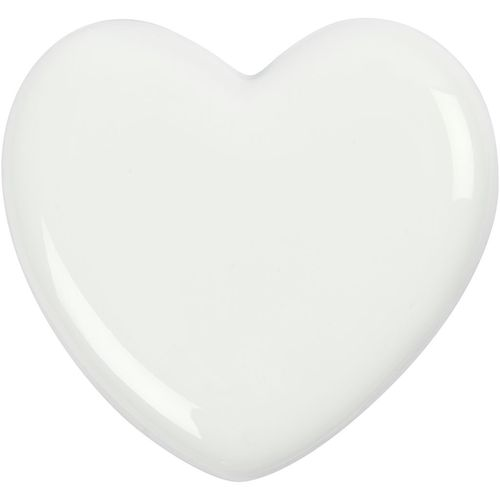 White Solid Glass Heart - 7cm