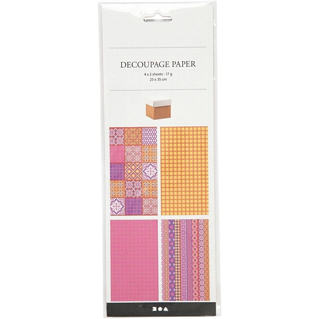 8 Assorted Sheets of Paper for Decoupage - Pink Harmony (254890)