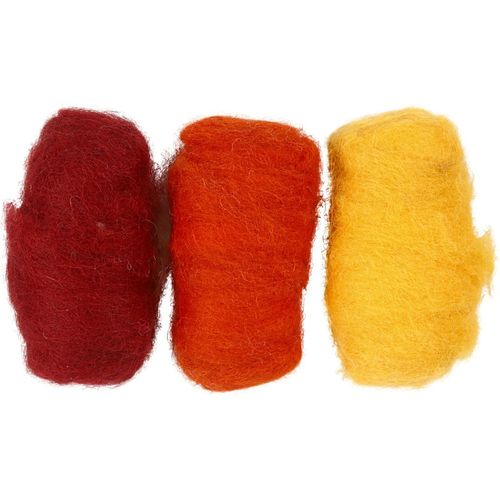 Carded Wool for Felting - Red Yellow Harmony (45333)