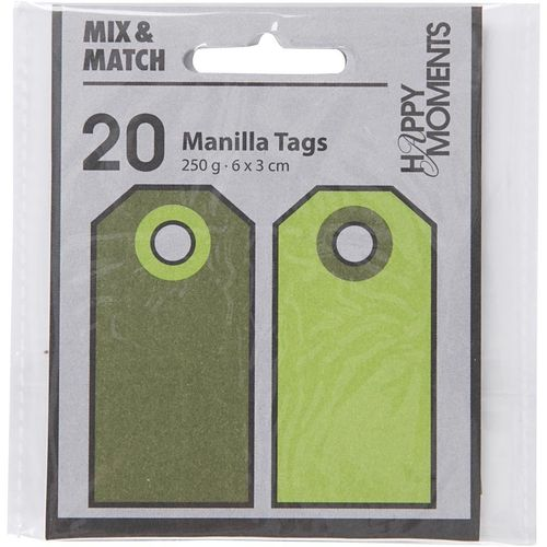 Pack of 20 Manilla Tags in Lime Green / Dark Green