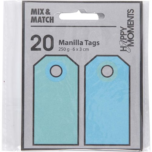 Pack of 20 Manilla Tags in Light / Dark Turquoise