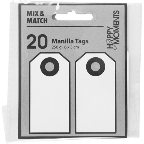 Pack of 20 Manilla Tags in White