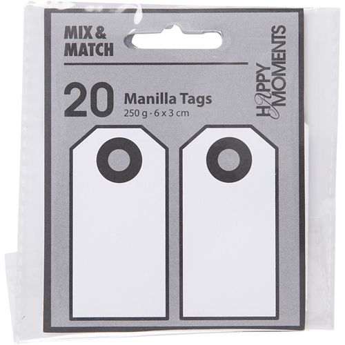 Pack of 20 Manilla Tags in Off White
