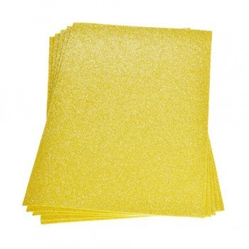 Single Sheet of Glitter Foam 200mm x 300mm x 2mm - Yellow