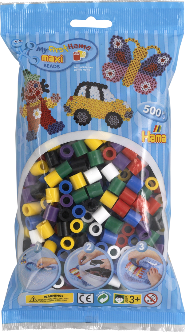 Pack of 500 Hama Maxi Beads Mixed Solid Colours (8470)