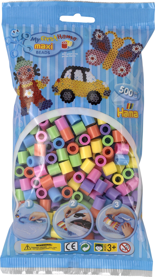 Pack of 500 Hama Maxi Beads Mixed Pastel Colours (8471)