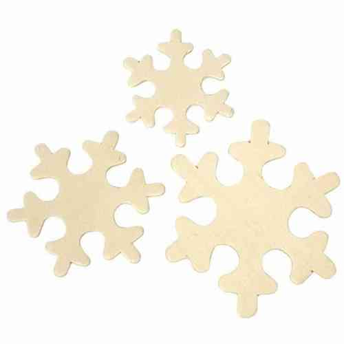 Pack of 9 Assorted Wooden Snowflakes 4 - 6cm