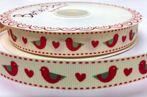 Grosgrain Ribbon 3 Meters - Red Folk Birds and Hearts (16mm Wide)