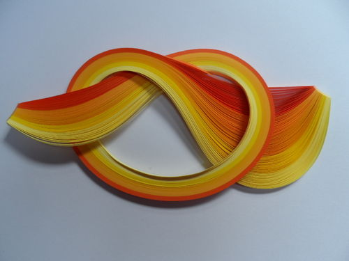 Pack of 60 Strips of 10mm Quilling Papers Yellows and Oranges