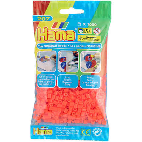 Pack of 1000 Hama Midi Beads - Flourescent Orange (207-40)