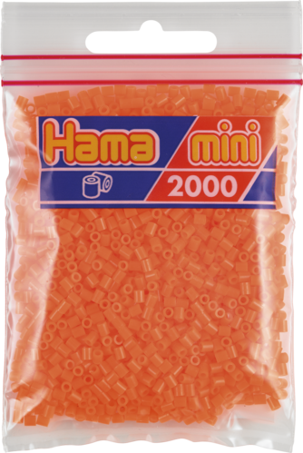 Pack of 2000 Hama MINI Beads - Flourescent Orange (501-40)