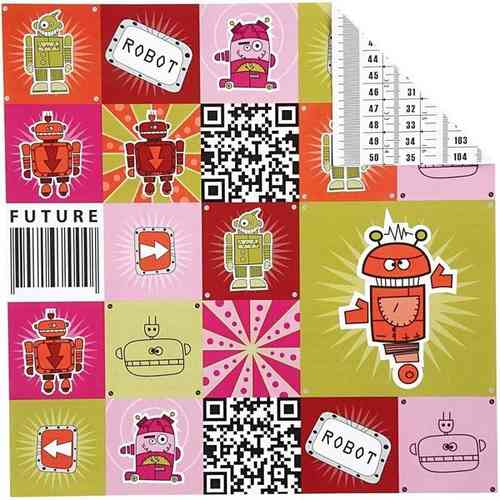 Double Sided 12x12 Design/Origami Paper 'Helsinki' - Future Robot (25662)