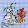 Stitchlets Christmas Card Cross Stitch Kit - Snowbunny *OUT OF PRINT*