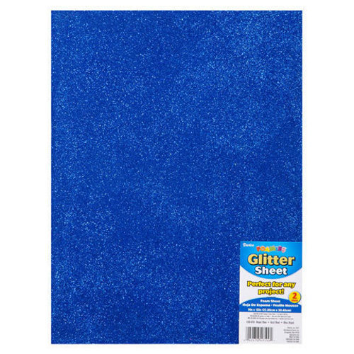 "Single Sheet of Glitter Foam 9"" x 12"" x 2mm - Blue"