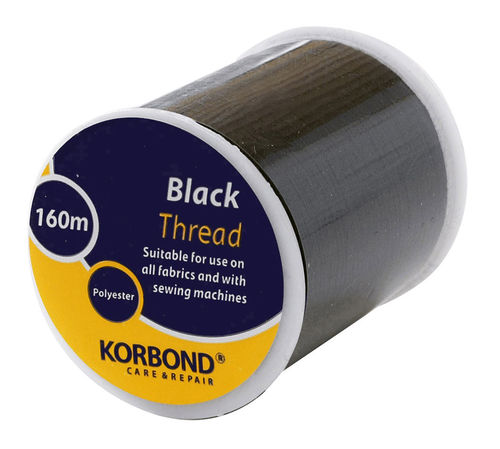 160m Korbond Polyester Sewing Thread - Black