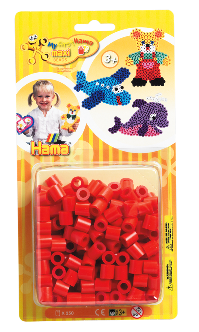 Pack of 250 Hama Maxi Beads Red (8605)
