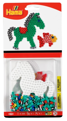 Small Hama Midi Bead Kit - Stripey Horse & Fish (4173)