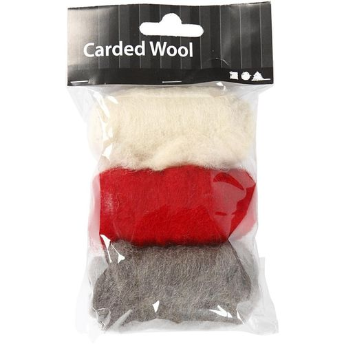 Carded Wool for Felting 3 x 10g - Red White Harmony (45337)