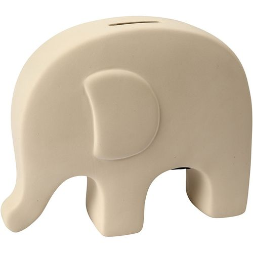 Plain White Terracotta Elephant Money Box (16.5cm)