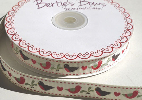 Grosgrain Ribbon 3 Meters - Robins and Mistletoe (16mm Wide)