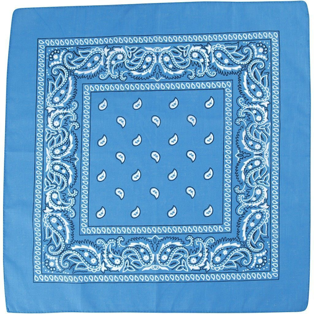 Patterned Bandana (55cm x 55cm) - Blue
