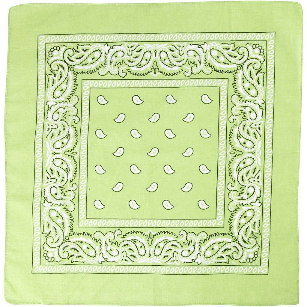 Patterned Bandana (55cm x 55cm) - Light Green