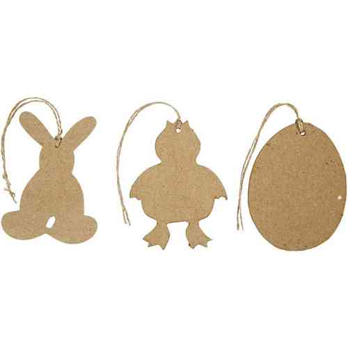 Set of 12 Assorted Paper Mache Easter Hanging Decorations